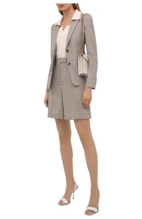 Женские шорты из шерсти и шелка BOSS бежевого цвета, арт. 50448031 | Фото 2