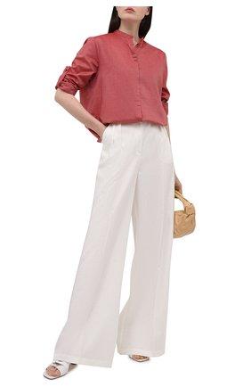 Женская хлопковая рубашка BOSS красного цвета, арт. 50436922 | Фото 2