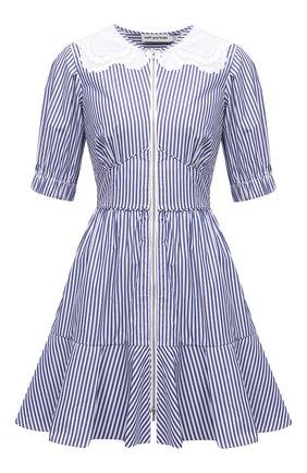 Женское хлопковое платье SELF-PORTRAIT голубого цвета, арт. SS21-010D   Фото 1