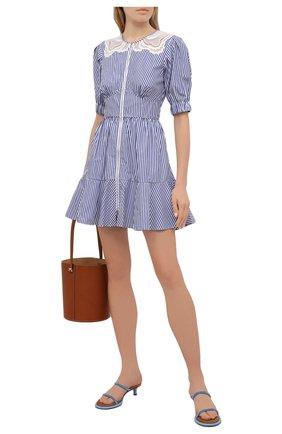 Женское хлопковое платье SELF-PORTRAIT голубого цвета, арт. SS21-010D   Фото 2