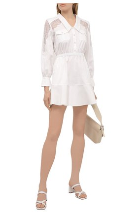 Женское хлопковое платье SELF-PORTRAIT белого цвета, арт. SS21-011D | Фото 2