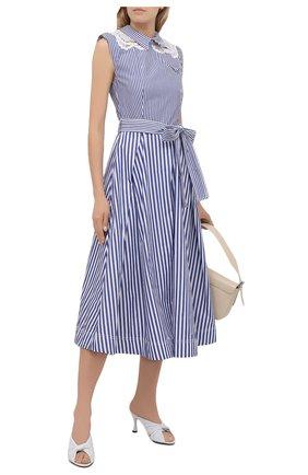 Женское хлопковое платье SELF-PORTRAIT голубого цвета, арт. SS21-045MS   Фото 2