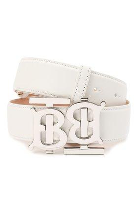 Женский кожаный ремень BURBERRY белого цвета, арт. 8040354   Фото 1