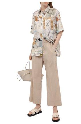 Женские хлопковые брюки BY MALENE BIRGER бежевого цвета, арт. Q70173010/MIZ0NI   Фото 2