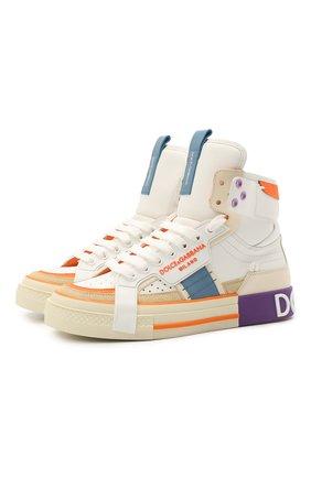 Женские кожаные кроссовки custom 2.zero DOLCE & GABBANA разноцветного цвета, арт. CK1870/A0543 | Фото 1