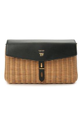 Женская сумка t-twist medium TOM FORD черного цвета, арт. L1441T-IRT001 | Фото 1 (Сумки-технические: Сумки через плечо; Ремень/цепочка: На ремешке; Размер: medium)