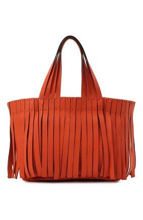 Женский сумка-шопер free VALENTINO оранжевого цвета, арт. VW0B0J01/JFA   Фото 1 (Материал: Натуральная кожа; Сумки-технические: Сумки-шопперы; Размер: medium; Ошибки технического описания: Нет ширины)