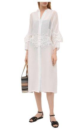 Женская туника из хлопка и шелка LILA EUGENIE белого цвета, арт. 2117 MIDI | Фото 2