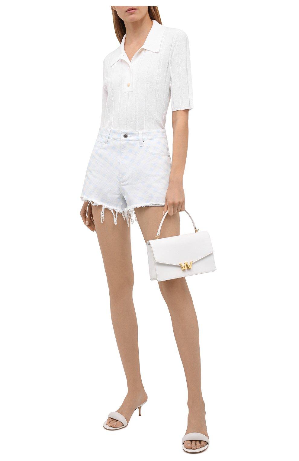 Женские джинсовые шорты DENIM X ALEXANDER WANG голубого цвета, арт. 4DC2214938 | Фото 2 (Женское Кросс-КТ: Шорты-одежда; Кросс-КТ: Деним; Длина Ж (юбки, платья, шорты): Мини; Материал внешний: Хлопок; Стили: Спорт-шик)