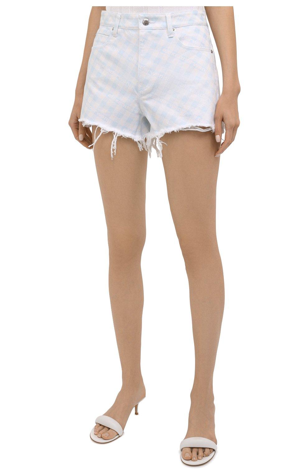 Женские джинсовые шорты DENIM X ALEXANDER WANG голубого цвета, арт. 4DC2214938 | Фото 3 (Женское Кросс-КТ: Шорты-одежда; Кросс-КТ: Деним; Длина Ж (юбки, платья, шорты): Мини; Материал внешний: Хлопок; Стили: Спорт-шик)