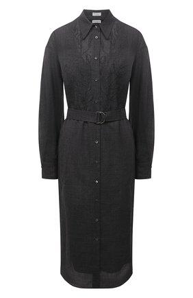 Женское шерстяное платье BRUNELLO CUCINELLI темно-серого цвета, арт. MP920AFQ51   Фото 1