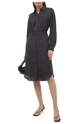 Женское шерстяное платье BRUNELLO CUCINELLI темно-серого цвета, арт. MP920AFQ51   Фото 2