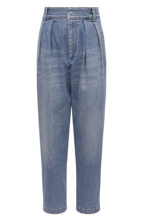 Женские джинсы BRUNELLO CUCINELLI голубого цвета, арт. MP186P5662 | Фото 1 (Длина (брюки, джинсы): Стандартные; Силуэт Ж (брюки и джинсы): Прямые; Стили: Кэжуэл; Материал внешний: Хлопок)