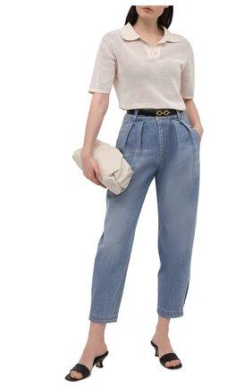 Женские джинсы BRUNELLO CUCINELLI голубого цвета, арт. MP186P5662 | Фото 2 (Длина (брюки, джинсы): Стандартные; Силуэт Ж (брюки и джинсы): Прямые; Стили: Кэжуэл; Материал внешний: Хлопок)