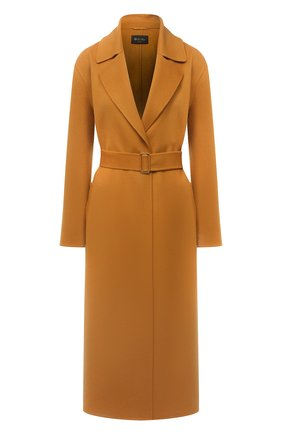 Женское кашемировое пальто LORO PIANA горчичного цвета, арт. FAL7182   Фото 1 (Материал внешний: Кашемир, Шерсть; Стили: Кэжуэл; 1-2-бортные: Однобортные; Рукава: Длинные; Длина (верхняя одежда): Длинные)
