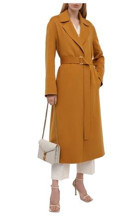 Женское кашемировое пальто LORO PIANA горчичного цвета, арт. FAL7182   Фото 2 (Материал внешний: Кашемир, Шерсть; Стили: Кэжуэл; 1-2-бортные: Однобортные; Рукава: Длинные; Длина (верхняя одежда): Длинные)
