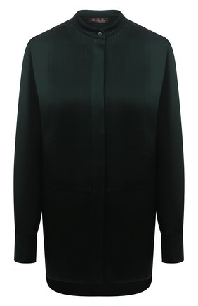 Женская шелковая рубашка LORO PIANA темно-зеленого цвета, арт. FAL7994 | Фото 1 (Стили: Кэжуэл; Материал внешний: Шелк; Принт: Без принта; Женское Кросс-КТ: Рубашка-одежда; Рукава: Длинные; Длина (для топов): Удлиненные)