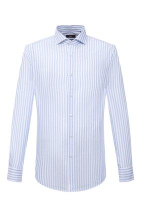 Мужская рубашка из хлопка и льна BOSS голубого цвета, арт. 50451268 | Фото 1