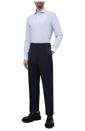 Мужская рубашка из хлопка и льна BOSS голубого цвета, арт. 50451268 | Фото 2