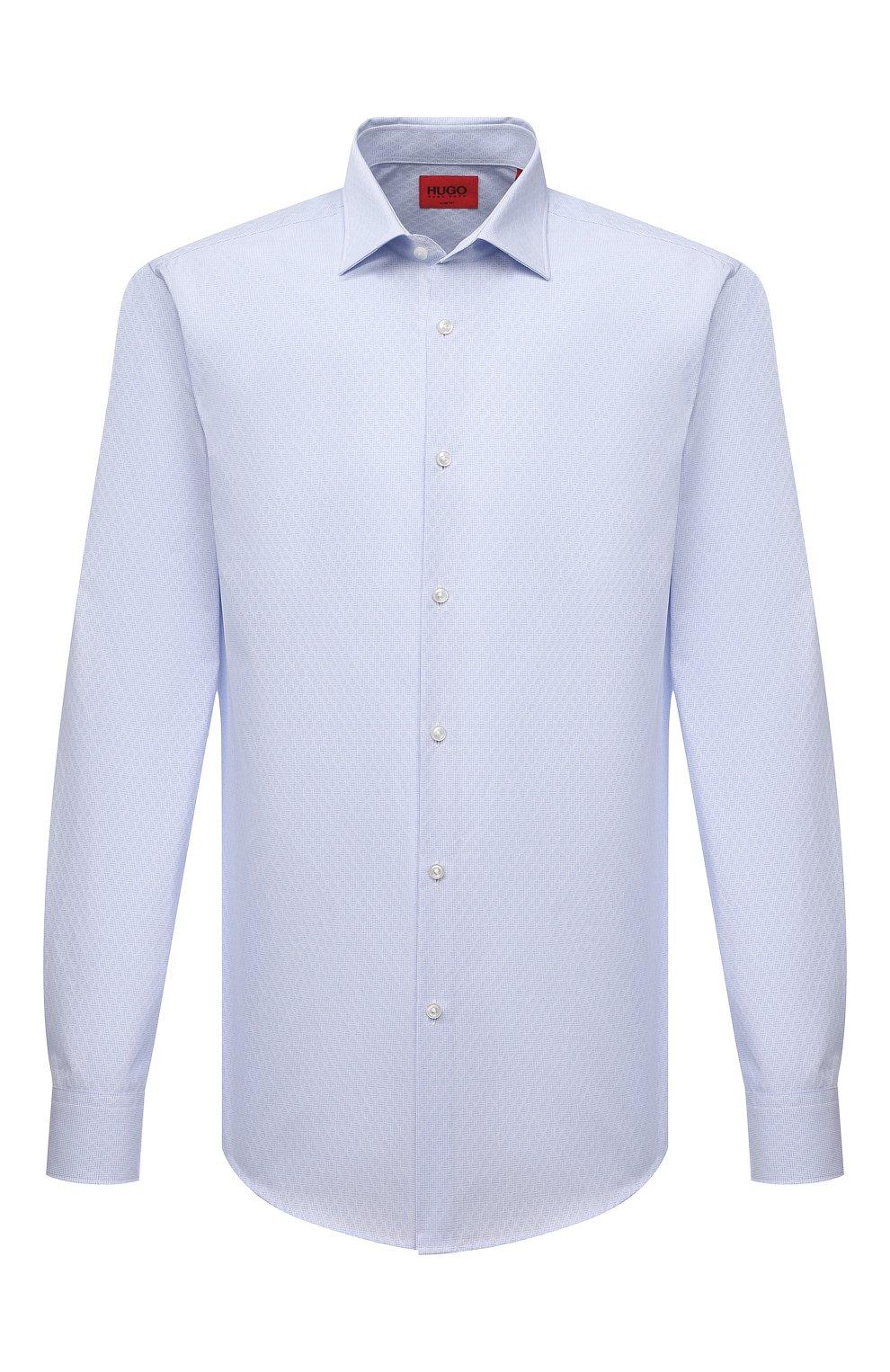 Мужская хлопковая сорочка HUGO голубого цвета, арт. 50453356   Фото 1 (Манжеты: На пуговицах; Воротник: Кент; Рукава: Длинные; Рубашки М: Regular Fit; Длина (для топов): Стандартные; Материал внешний: Хлопок; Стили: Классический; Случай: Формальный; Принт: Однотонные)