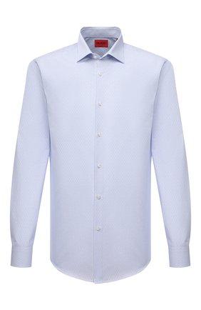 Мужская хлопковая сорочка HUGO голубого цвета, арт. 50453356 | Фото 1