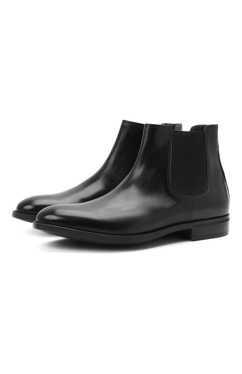Мужские кожаные челси MORESCHI черного цвета, арт. 90042364P0001/CHELSEA | Фото 1 (Материал внутренний: Натуральная кожа; Подошва: Плоская; Мужское Кросс-КТ: Сапоги-обувь, Челси-обувь)