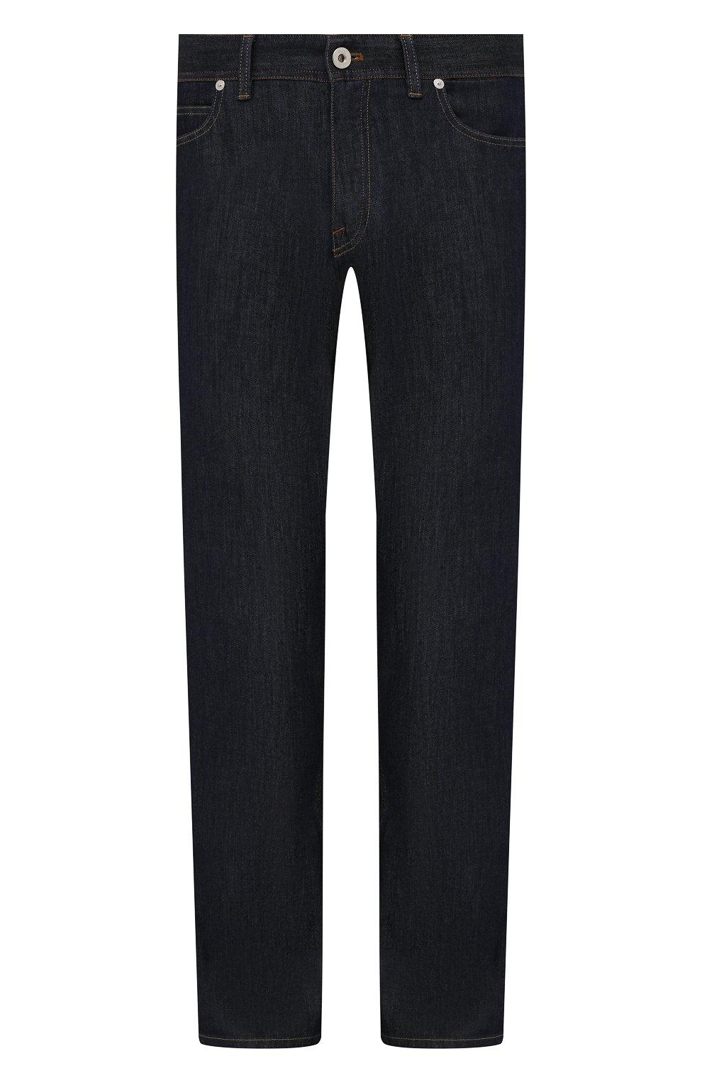 Мужские джинсы с отделкой из кожи каймана BRIONI темно-синего цвета, арт. SPPA0L/P0D08/STELVI0 | Фото 1