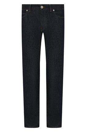 Мужские джинсы с отделкой из кожи каймана BRIONI темно-синего цвета, арт. SPPA0L/P0D08/STELVI0 | Фото 1 (Длина (брюки, джинсы): Стандартные; Силуэт М (брюки): Прямые; Материал внешний: Хлопок, Деним; Стили: Классический)