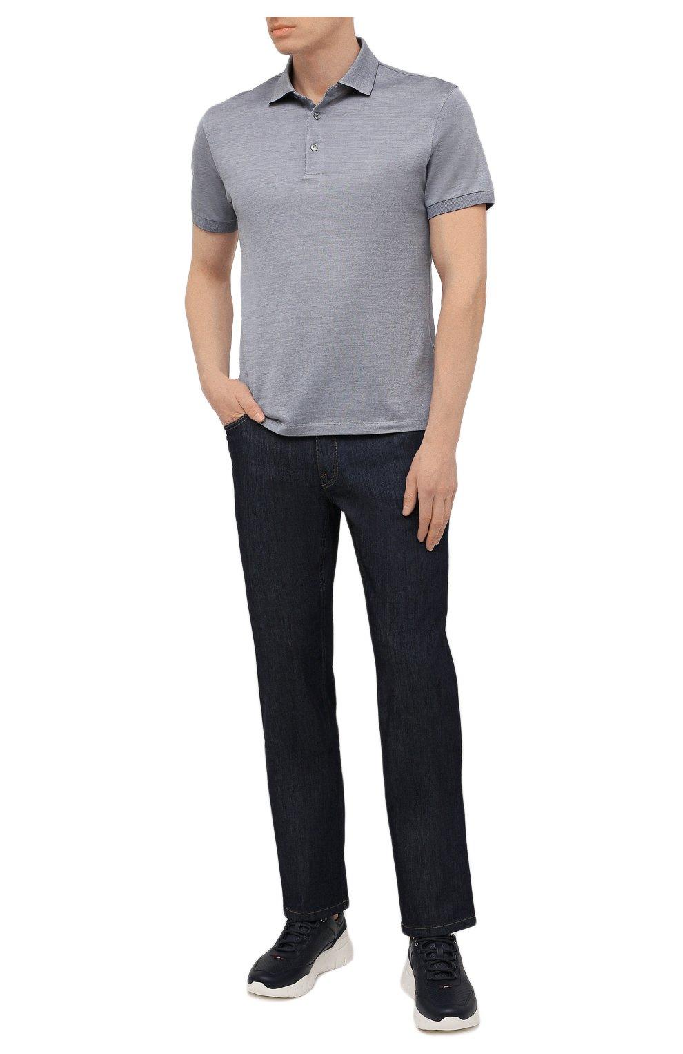 Мужские джинсы с отделкой из кожи каймана BRIONI темно-синего цвета, арт. SPPA0L/P0D08/STELVI0 | Фото 2