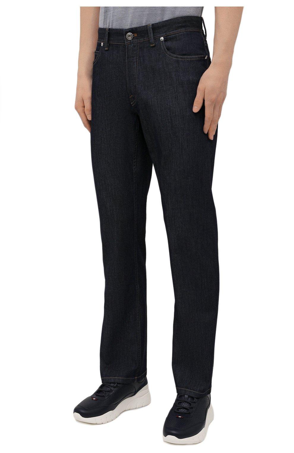 Мужские джинсы с отделкой из кожи каймана BRIONI темно-синего цвета, арт. SPPA0L/P0D08/STELVI0 | Фото 3