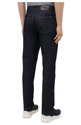 Мужские джинсы с отделкой из кожи каймана BRIONI темно-синего цвета, арт. SPPA0L/P0D08/STELVI0 | Фото 4