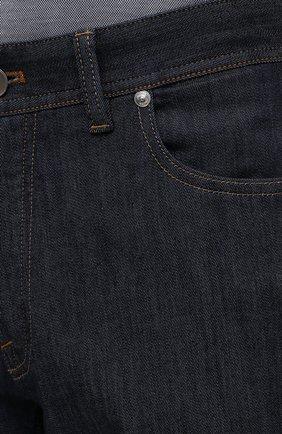 Мужские джинсы с отделкой из кожи каймана BRIONI темно-синего цвета, арт. SPPA0L/P0D08/STELVI0 | Фото 5