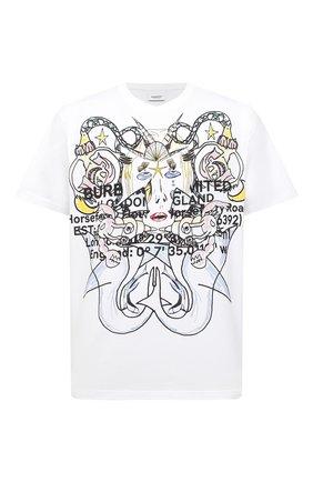 Мужская хлопковая футболка BURBERRY белого цвета, арт. 8040678 | Фото 1 (Рукава: Короткие; Стили: Кэжуэл; Длина (для топов): Стандартные; Принт: С принтом; Материал внешний: Хлопок)