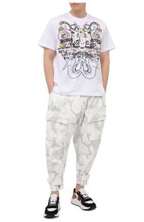 Мужская хлопковая футболка BURBERRY белого цвета, арт. 8040678 | Фото 2 (Рукава: Короткие; Стили: Кэжуэл; Длина (для топов): Стандартные; Принт: С принтом; Материал внешний: Хлопок)