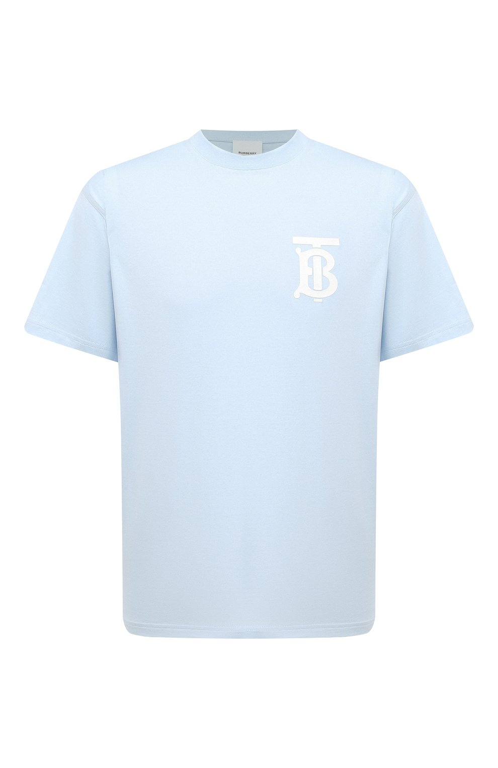 Мужская хлопковая футболка BURBERRY голубого цвета, арт. 8040062 | Фото 1 (Принт: Без принта; Рукава: Короткие; Длина (для топов): Стандартные; Материал внешний: Хлопок; Стили: Кэжуэл)