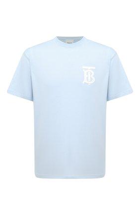 Мужская хлопковая футболка BURBERRY голубого цвета, арт. 8040062 | Фото 1 (Длина (для топов): Стандартные; Стили: Кэжуэл; Принт: Без принта; Материал внешний: Хлопок; Рукава: Короткие)