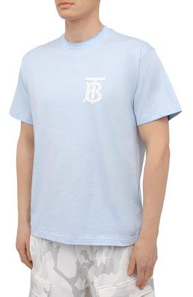 Мужская хлопковая футболка BURBERRY голубого цвета, арт. 8040062 | Фото 3 (Принт: Без принта; Рукава: Короткие; Длина (для топов): Стандартные; Материал внешний: Хлопок; Стили: Кэжуэл)