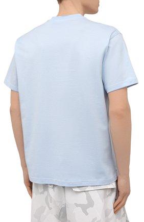 Мужская хлопковая футболка BURBERRY голубого цвета, арт. 8040062 | Фото 4 (Принт: Без принта; Рукава: Короткие; Длина (для топов): Стандартные; Материал внешний: Хлопок; Стили: Кэжуэл)