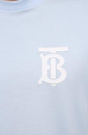 Мужская хлопковая футболка BURBERRY голубого цвета, арт. 8040062 | Фото 5 (Принт: Без принта; Рукава: Короткие; Длина (для топов): Стандартные; Материал внешний: Хлопок; Стили: Кэжуэл)