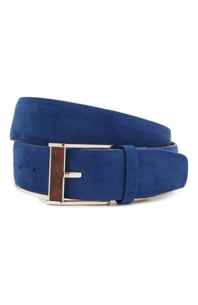 Мужской кожаный ремень ZILLI синего цвета, арт. MJL-CLAQE-01980/0057 | Фото 1 (Случай: Повседневный)