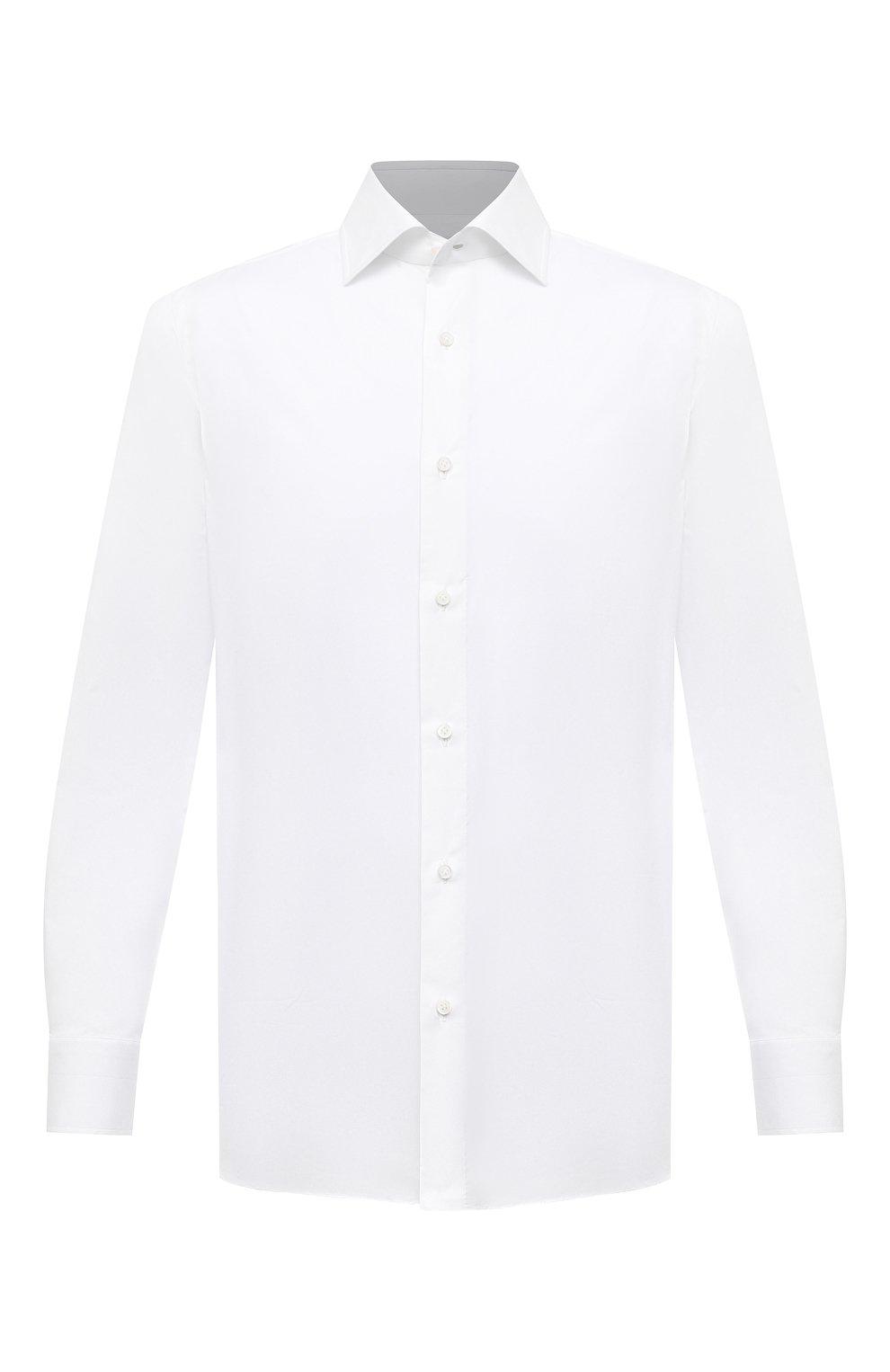 Мужская хлопковая сорочка LUIGI BORRELLI белого цвета, арт. EV08/LUCIAN0/S10715 | Фото 1 (Рукава: Длинные; Длина (для топов): Стандартные; Рубашки М: Slim Fit; Материал внешний: Хлопок; Стили: Классический; Случай: Формальный)