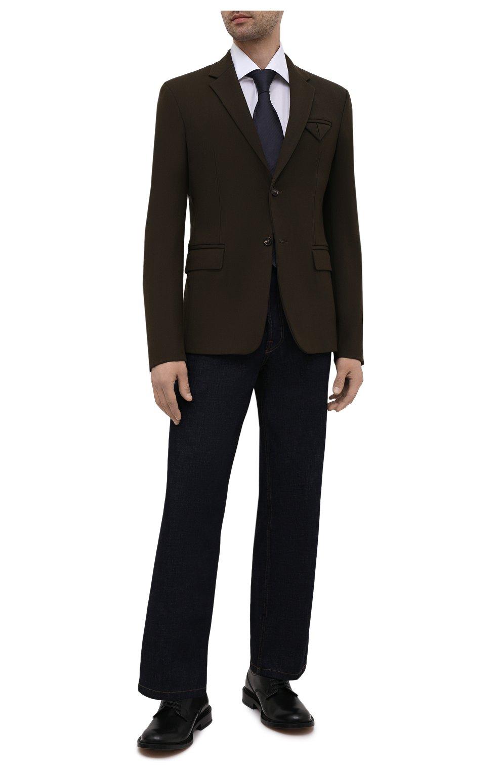 Мужская хлопковая сорочка LUIGI BORRELLI белого цвета, арт. EV08/LUCIAN0/S10715 | Фото 2 (Рукава: Длинные; Длина (для топов): Стандартные; Рубашки М: Slim Fit; Материал внешний: Хлопок; Стили: Классический; Случай: Формальный)