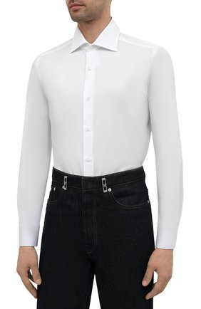 Мужская хлопковая сорочка LUIGI BORRELLI белого цвета, арт. EV08/LUCIAN0/S10715 | Фото 3 (Рукава: Длинные; Длина (для топов): Стандартные; Рубашки М: Slim Fit; Материал внешний: Хлопок; Стили: Классический; Случай: Формальный)