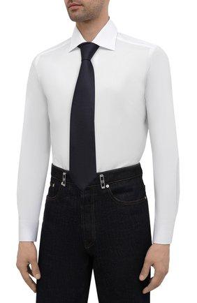 Мужская хлопковая сорочка LUIGI BORRELLI белого цвета, арт. EV08/LUCIAN0/S10715 | Фото 4 (Рукава: Длинные; Длина (для топов): Стандартные; Рубашки М: Slim Fit; Материал внешний: Хлопок; Стили: Классический; Случай: Формальный)