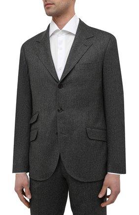 Мужской костюм из шерсти и кашемира BRUNELLO CUCINELLI темно-серого цвета, арт. MN466LDWH | Фото 2