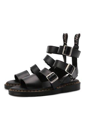 Мужские кожаные сандалии rick owens x dr. martens RICK OWENS черного цвета, арт. DM21S6806/1001   Фото 1