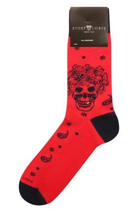 Мужские хлопковые носки STORY LORIS красного цвета, арт. 5473 | Фото 1 (Кросс-КТ: бельё; Материал внешний: Хлопок)