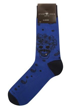 Мужские хлопковые носки STORY LORIS синего цвета, арт. 5473 | Фото 1 (Материал внешний: Хлопок; Кросс-КТ: бельё)