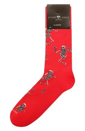 Мужские хлопковые носки STORY LORIS красного цвета, арт. 5483 | Фото 1 (Материал внешний: Хлопок; Кросс-КТ: бельё)