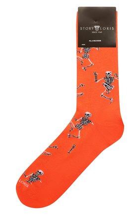 Мужские хлопковые носки STORY LORIS оранжевого цвета, арт. 5483 | Фото 1 (Материал внешний: Хлопок; Кросс-КТ: бельё)